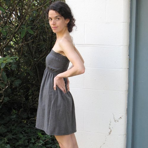 Wool / Tencel Mini Dress in Charcoal