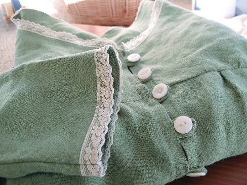 green linen button blouse