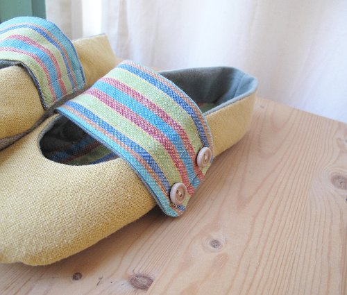 eco toes. yellow linen and colorful stripes.