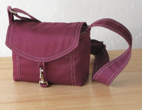 camera bag in plum